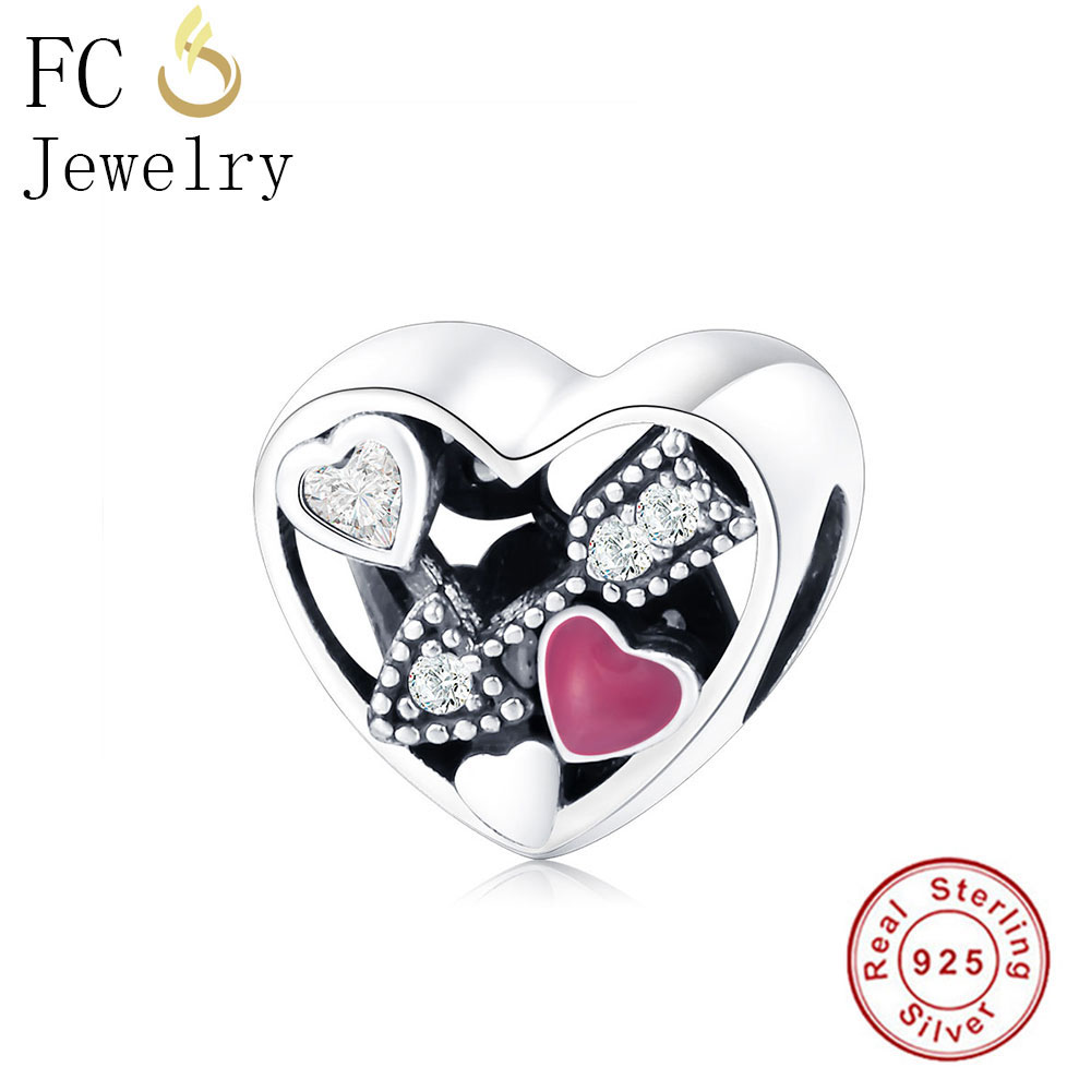 FC Jewelry Fit Original Pandora Charm Bracelet 925 Sterling Silver Struck By Love Magenta Enamel Clear CZ Heart DIY Charm Bead