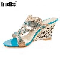 Женщины peep toe клин тапочки сандалии sexy lady летняя мода девушка бренд каблуках обувь туфли на каблуках размер 32-43 P17787