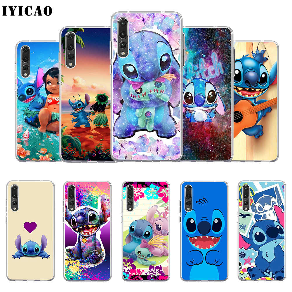 IYICAO Cute Lilo & Stitch Soft Silicone Phone Case for Huawei P30 P20 Pro P10 P9 P8 Lite P Smart TPU Cover