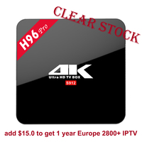 Clear Stock! H96 Pro Android 7.1 TV Box 2GB/3GB 16GB WiFi Set Top Box IPTV 2800+Channels Europe French Arabic Italy Optional