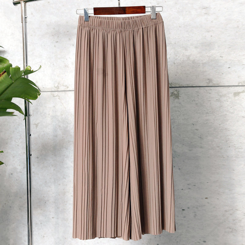 Leg-Pants Drape-Trousers Pleated Stretch High-Waist Wide Straight Summer Casual Women