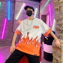 Hip Hop Fire Flame Printed T Shirts Men Streetwear 2019 Summer Casual Short Sleeve Tshirts Male Harajuku Fashion Cotton Top Tees