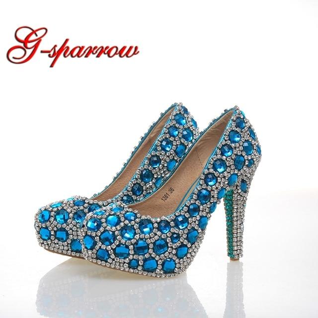 Blue Crystal Cinderella Prom Party Shoes 43 Size for Women Pumps Rhinestone  Wedding Party High Heels Zapatos de la boda f34e55e12e67