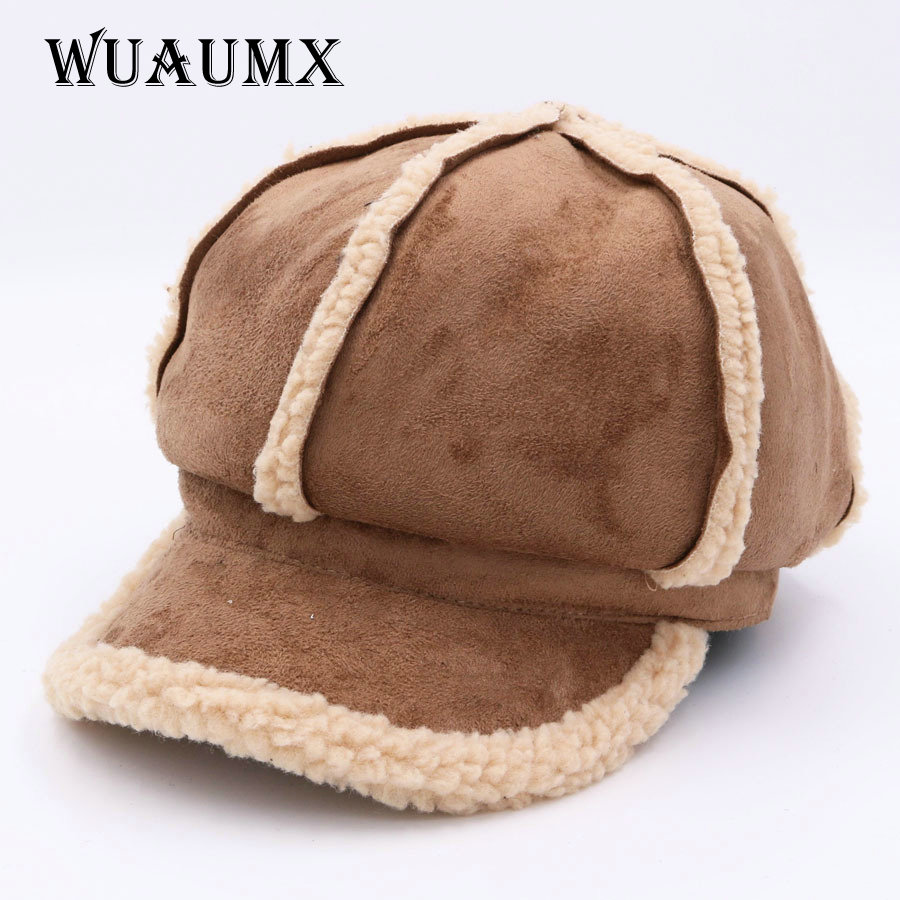 Wuaumx Unisex Autumn Winter Baseball Cap For Women And Men Deerskin lambswool Octagonal Hat Retro Newsboy Caps For Female Casual