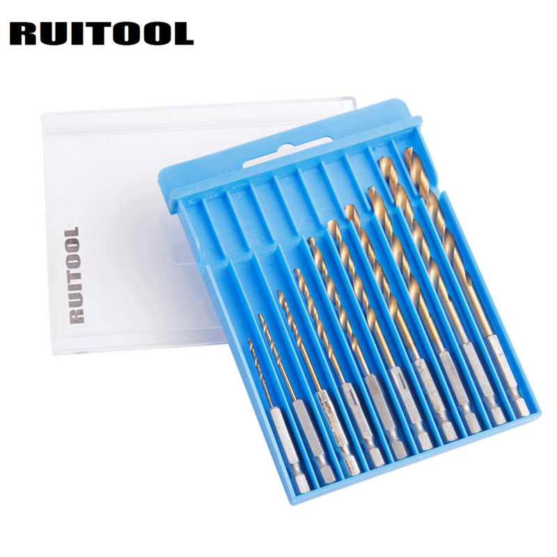 Ruitool 1/4 Hex Shank 1.5-6mm Drill Bit Set HSS  Wooding Drill Electric Drill Bit For Wood/Plasti/Aluminum/Metal 10pcs 13pcs lot hss high speed steel drill bit set 1 4 hex shank 1 5 6 5mm free shipping hss twist drill bits set for power tools