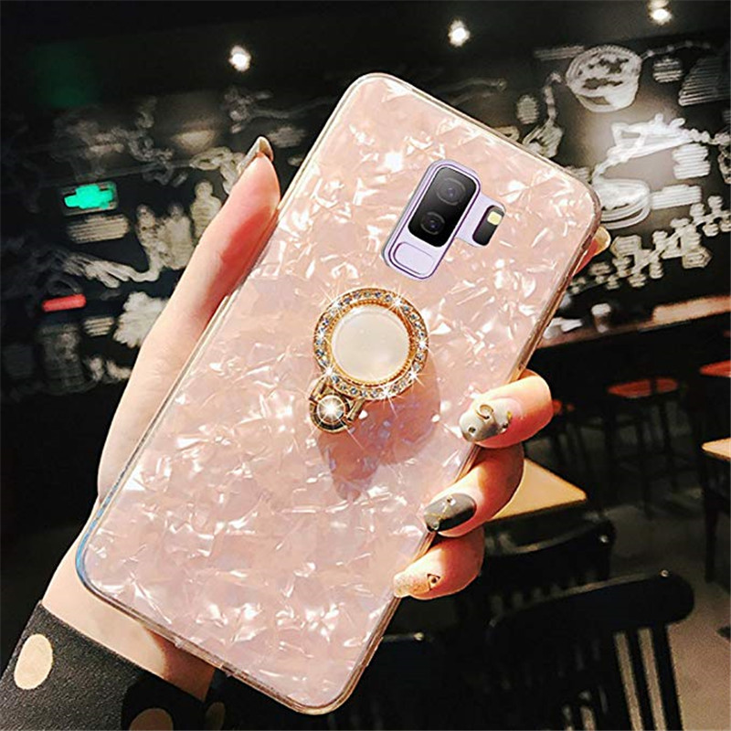 Fashion Bling Marble Crystal <font><b>Case</b></font> Cover <font><b>With</b></font> Diamond Finger <font><b>Ring</b></font> Grip For Samsung Galaxy <font><b>Note</b></font> 10 <font><b>9</b></font> 8 S20 Ultra S10E S10/<font><b>9</b></font>/8 Plus image
