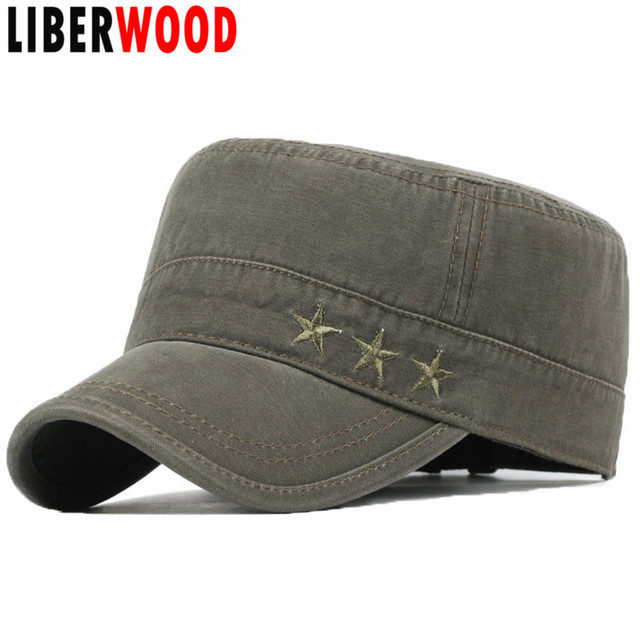 Men s Classic Plain Vintage Cotton Flat Top Peaked Baseball Cap Twill Army  Mil Corps Hat Visor Strap Cadet Cap HAT 8c8a20ea64ed
