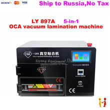 (Russain no tax!) lamination machine Upgrade 5 in 1 touch screen vacuum OCA Laminator LY 897A with Built-in Air Compressor