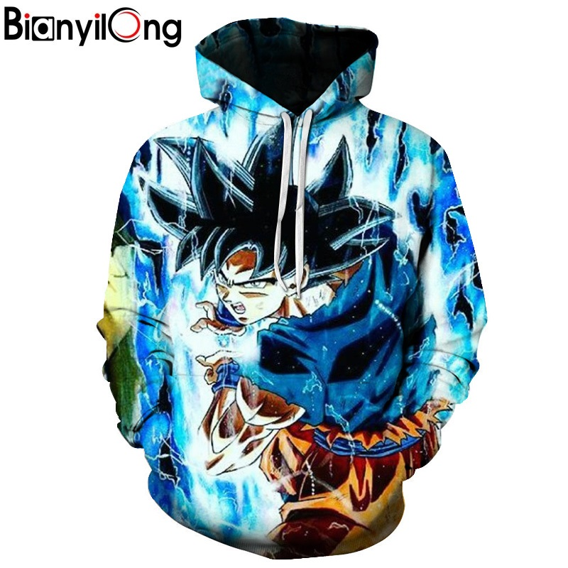 BIANYILONG 2018 <font><b>Jackets</b></font>&Coats <font><b>Dragon</b></font> <font><b>Ball</b></font> <font><b>Z</b></font> Hoodie Anime Son <font><b>Goku</b></font> Hooded 3d Printed Men Sweatshirts Harajuku men Hoodie US size image