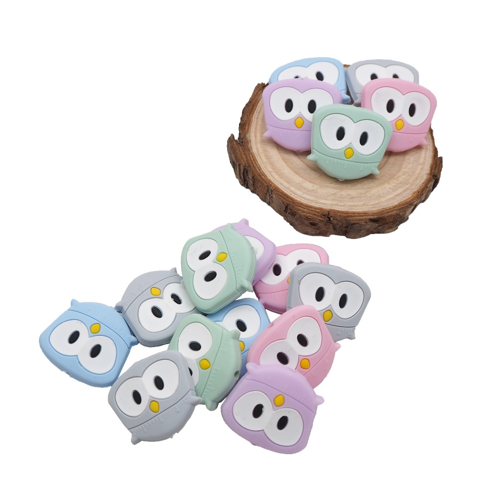 Chenkai 5PCS Silicone Mini Bird Beads Baby Owl Teething Beads BAP Free For DIY Baby Soomthing Pacifier Clip Chains Nurse Gifts