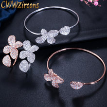 CWWZircons Adjustable Size Full Cubic Zirconia Rose Gold Color Flower Leaf Cuff Bangle Bracelet and Ring Sets for Women T071(China)