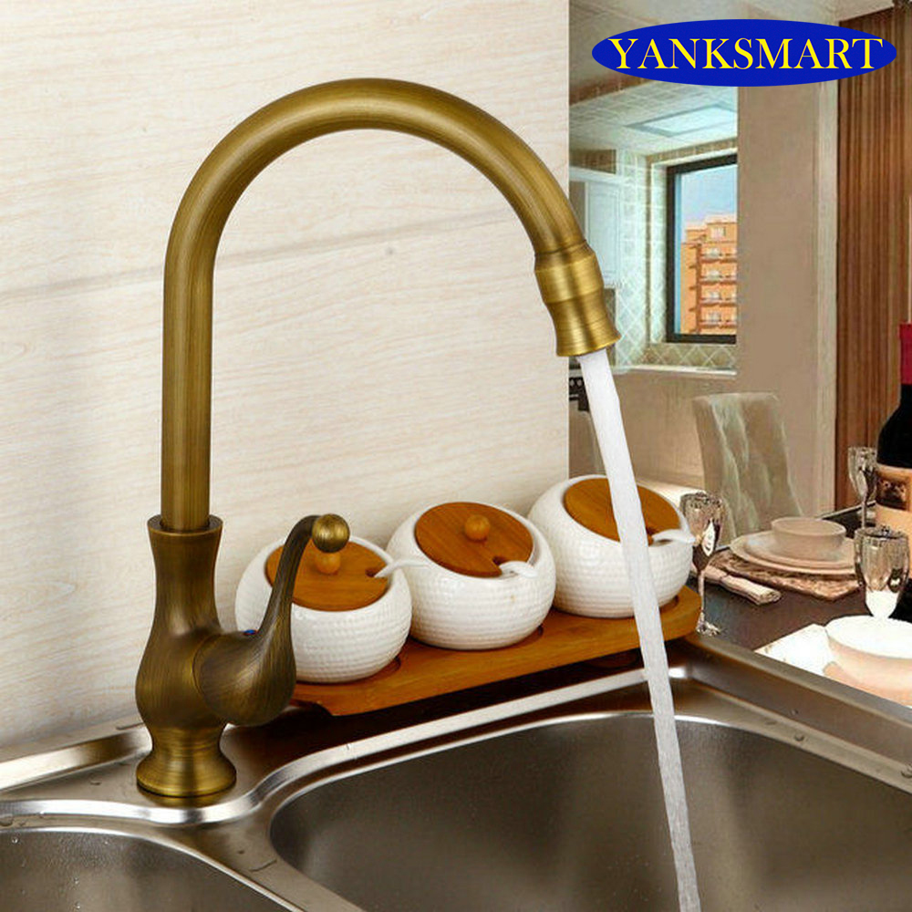 Ceramic Handle Swivel 360 Antique Brass Basin Sink Lavatory Kitchen Faucets Torneira Faucets,Mixers & Taps antique brass swivel spout dual cross handles kitchen