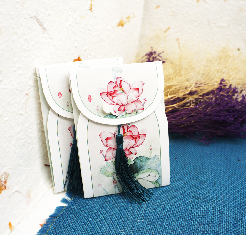 16 Sheets/Set Retro Chinese Style Postcard With Small Tassel/Greeting Card/Message Card/Birthday Letter Envelope Gift Card