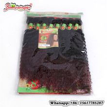 Brazilian Curly Hair 8Bundles Short kinky curly human weft Brazilian Weave afro curly ombre hair extensions colors 1B/27/30/BUG