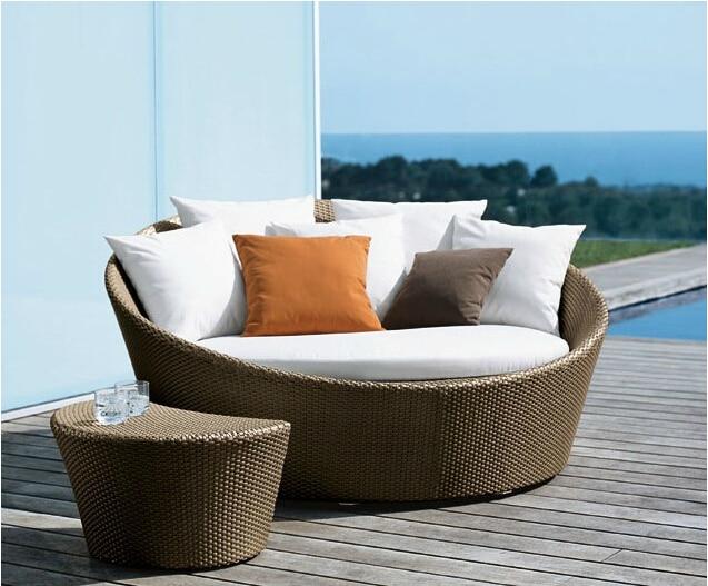 Big round bed rattan outdoor furniture leisure lying siesta sofa Pool  Recliners beach lie - Big Round Bed Rattan Outdoor Furniture Leisure Lying Siesta Sofa