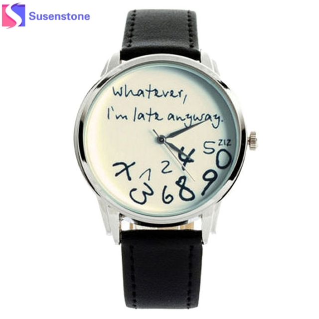 f81d88b9ca1 Nueva moda divertida mujeres del reloj pulsera de cuero casual reloj de  cuarzo analógico reloj Relogio