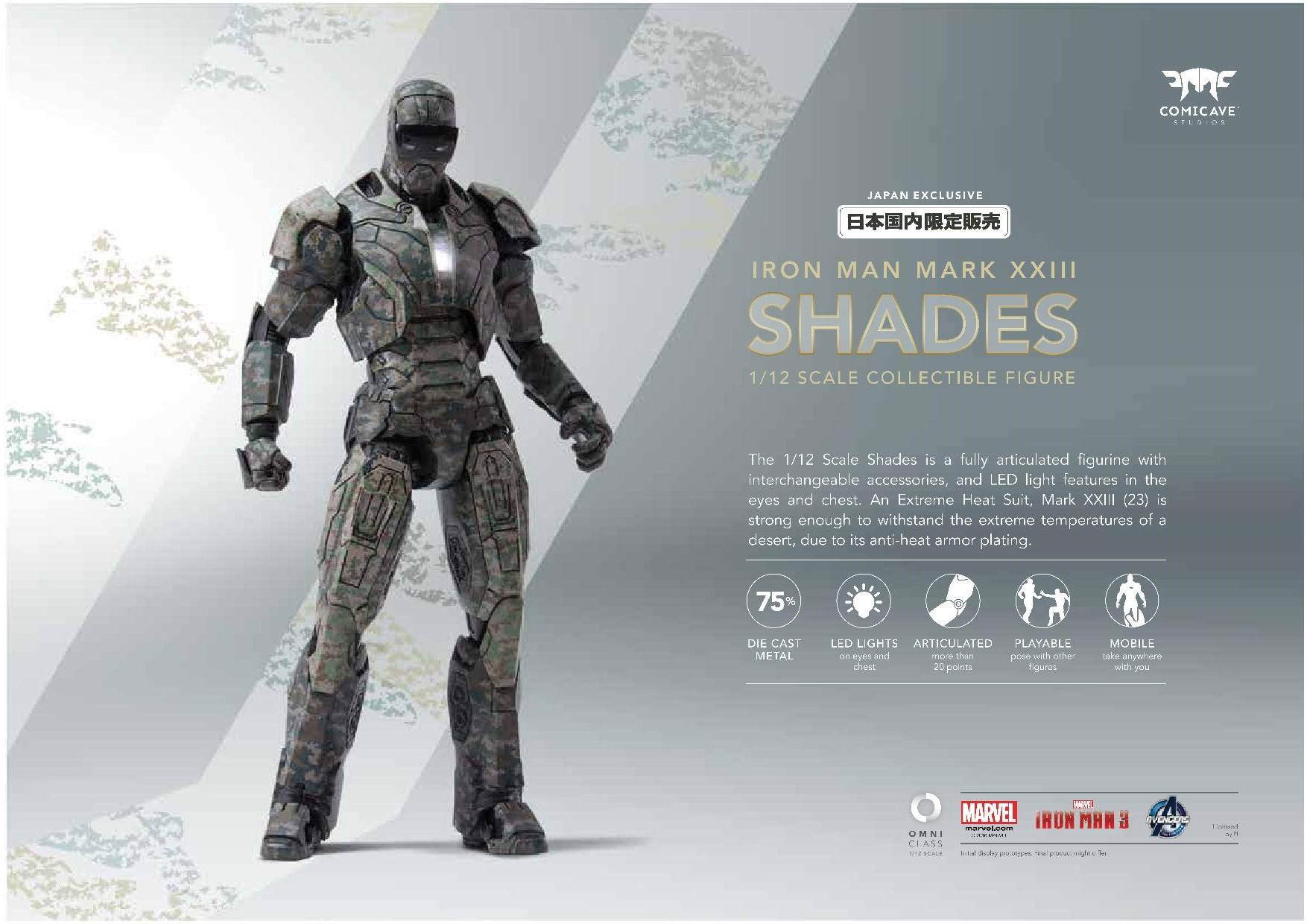 Comicave 1//12 Scale Iron Man MK23 Shades Action Figure Alloy LED Light Model Hot