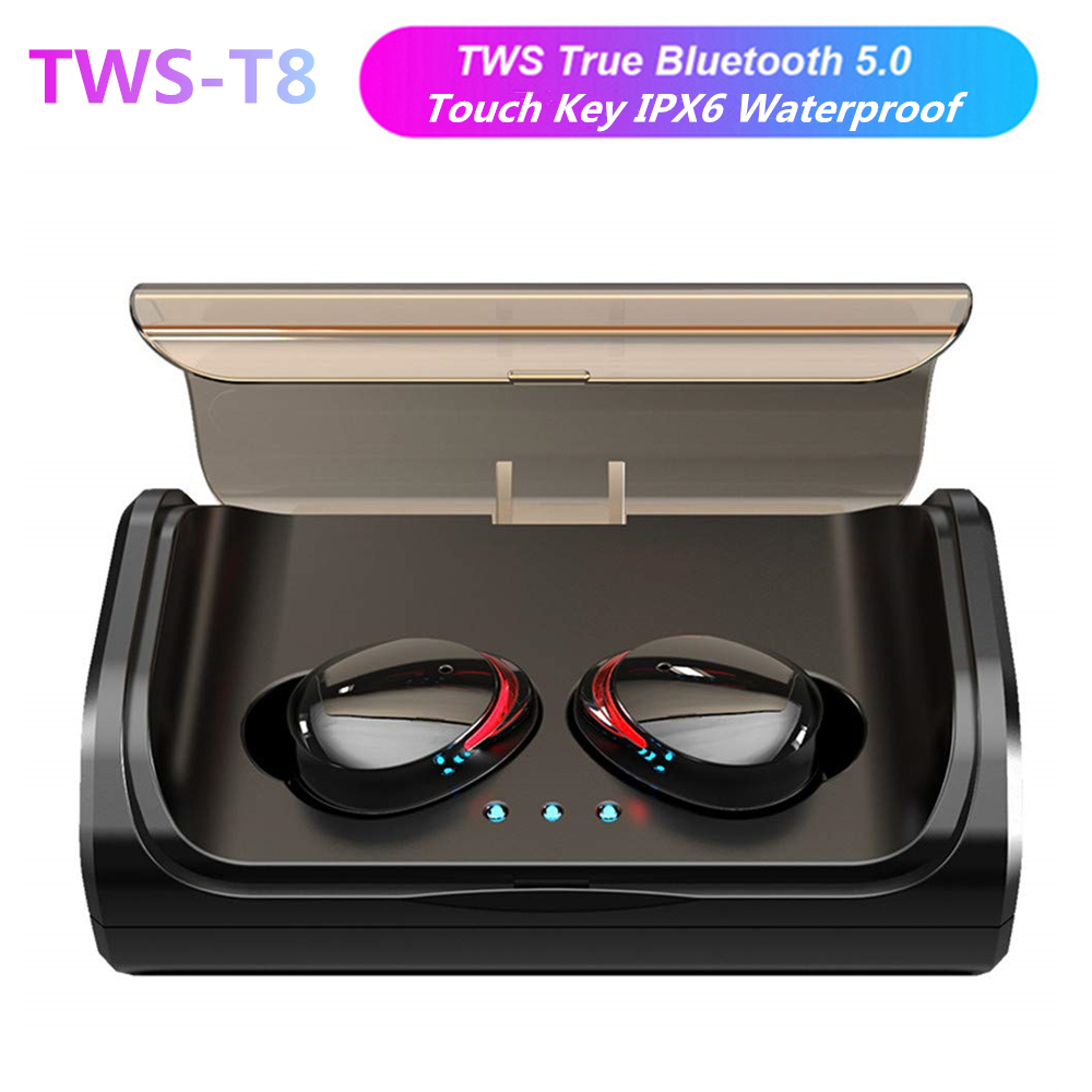 <font><b>TWS</b></font> T8 <font><b>Bluetooth</b></font> <font><b>5.0</b></font> True Wireless Earphones In-Ear Earbuds Deep Bass Stereo IPX6 Waterproof Sports Headset VS <font><b>i10</b></font> i12 i30 <font><b>TWS</b></font> image