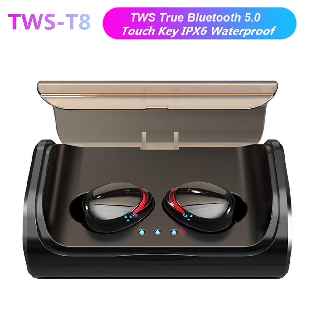 T8 Mini TWS Bluetooth 5.0 Verdadeiro Fones De Ouvido Intra-auriculares Fones de Ouvido Graves Profundos Stereo Esportes fone de Ouvido Sem Fio com 3000 mAh de Carregamento da Caixa