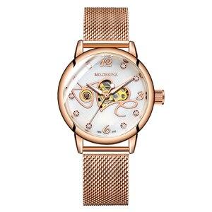 Image 5 - אופנה יוקרה שעון נשים אהבת דפוס אוטומטי מכאני שעונים מלא נירוסטה רוז זהב רשת חגורת גבירותיי שעון יד
