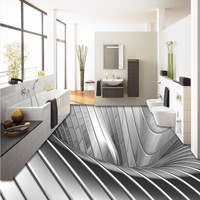 Free Shipping Custom Flooring Living Room Bathroom Home Decoration Wallpaper Floor 3D Silver Metal Ground Backdrop