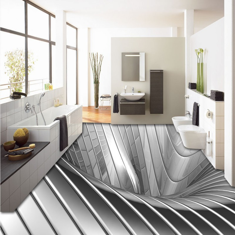 Free shipping custom flooring living room bathroom home decoration wallpaper floor 3D silver metal ground backdrop wallpaper ...