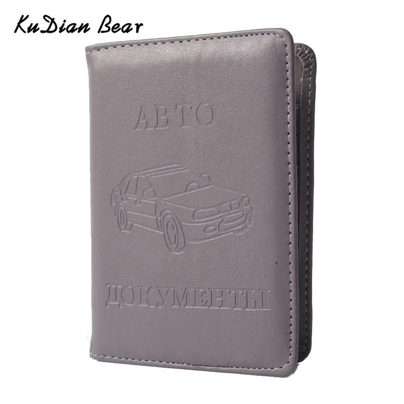 KUDIAN BEAR Russian Driver License PU Custodia in pelle per documenti Porta biglietti da visita Organizzatore di documenti da viaggio - BIH004 PM20