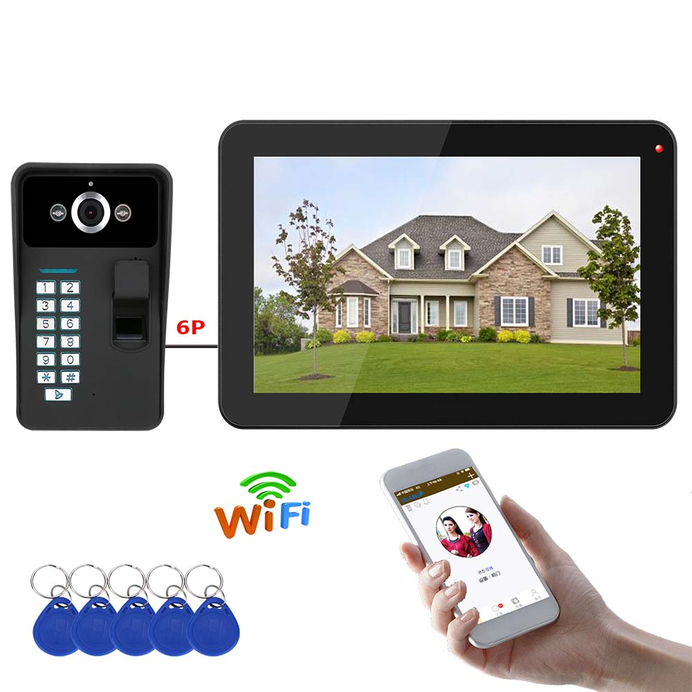 9 Inch Wireless Wifi Fingerprint RFID Password Video Door Phone Doorbell Intercom Entry System With Wired  IR-CUT 1000TVL