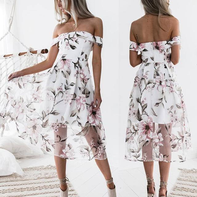 f54aa4ba729 New Arrival Women Summer Off Shoulder Floral Printed Long Maxi Dress  Elegant Classical Women s Dresses Beautiful Vestido Dresses