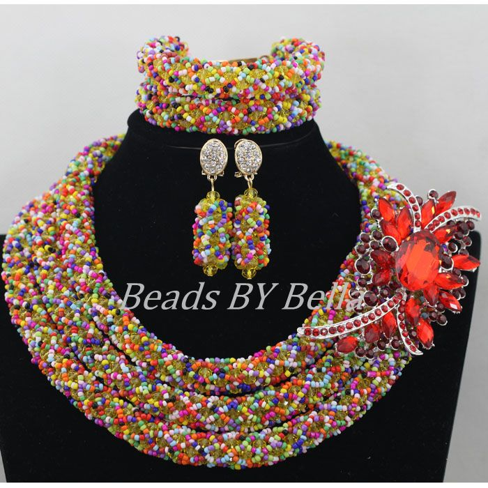 Multicolor Crystal Beads Necklace New Nigerian Wedding African ...