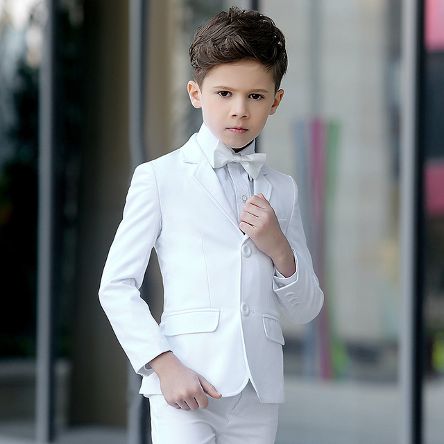 Brand Child Boy Clothing Solid White Formal Tuxedo Kid Wedding Suits Slim Fit
