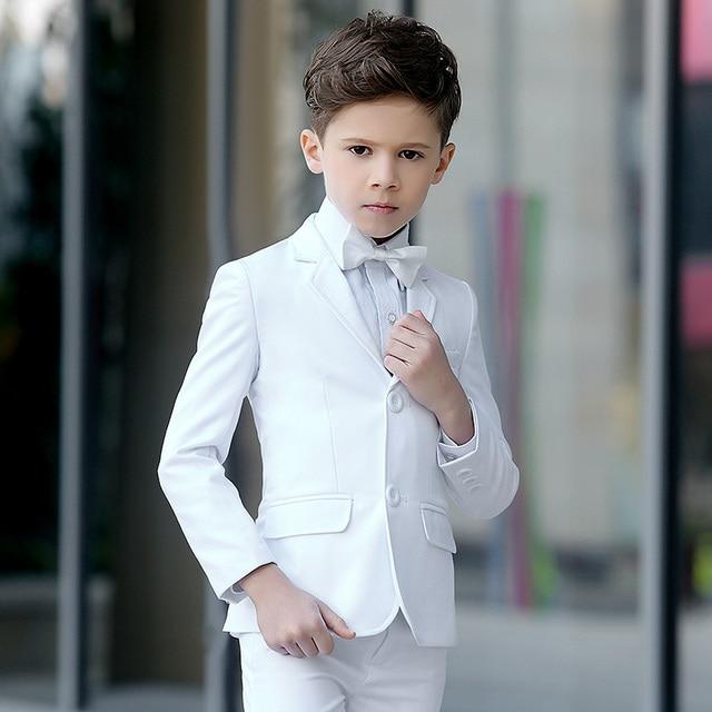 Brand Child Boy Clothing Solid White formal boy tuxedo child kid boy