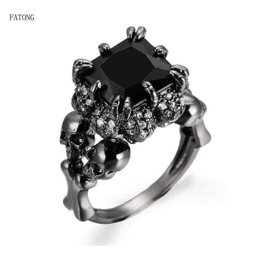 สแตนเลสสตีลแหวน zircon สีดำ boy punk ลมยุโรปและอเมริกา hot ghost head เครื่องประดับ t0922