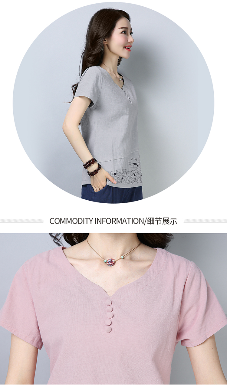 Cotton And Linen Short Sleeve Loose Women Blouses Plus Size Artistic Womens Clothing Print 3xl Casual Women Tops 11