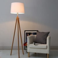 Modern Nordic Simple Original Wood Linen Tripod Led E27 Floor Lamp For Living Room Bedroom Study Bar Deco H 163cm Ac80 265v 1142