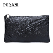 купить MenPURNAI Black Hand Wallets Alligator Leather Wallet Men Purse Long Wallet Male Clutch Bag Crocodile Pattern carteira masculina дешево