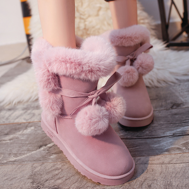 2017 Women Snow Boots Female Flock Fur Winter Ankle Boots Butterfly Knot Plush Ladies Shoes Botas 2016 rhinestone sheepskin women snow boots with fur flat platform ankle winter boots ladies australia boots bottine femme botas
