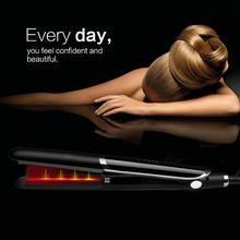 цена на Dropshipping LED Hair Straightener Curler Hair Flat Iron Negative Ion Infrared Hair Straighting Curling Iron Corrugation