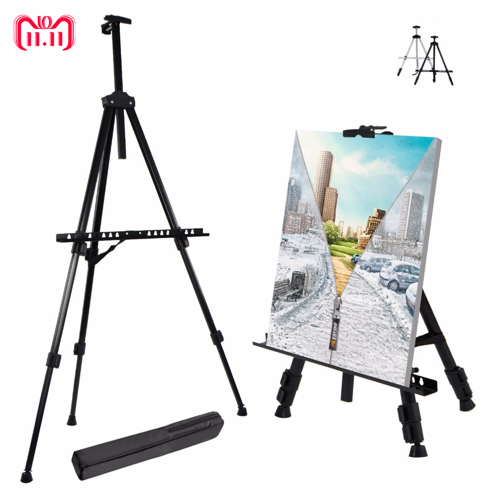 Easels Us 11 99 36 Off Portable Adjustable Metal Sketch Easel Stand Foldable Travel Easel Aluminum Alloy Easel Sketch Drawing For Artist Art Supplies In