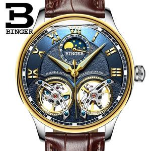 Image 3 - 2020 yeni mekanik erkek saatler Binger rol lüks marka İskelet bilek safir su geçirmez İzle erkekler saat erkek reloj hombre