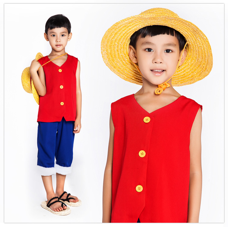 One piece Cosplay Costume Monkey D Luffy 1st Cosplay T Shirt Clothes + Pants + Hat
