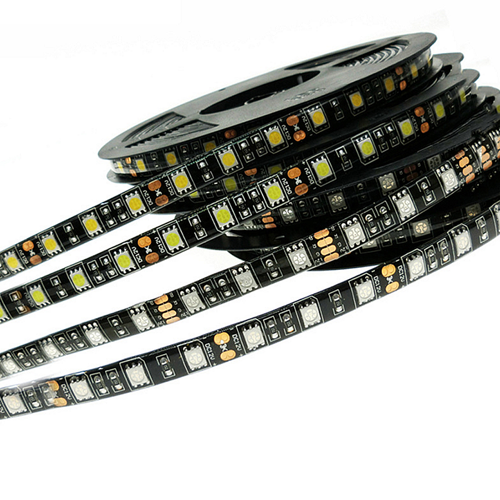 <font><b>LED</b></font> Streifen 5050 Schwarz <font><b>PCB</b></font> DC12V Flexible <font><b>LED</b></font> Licht 60 <font><b>LED</b></font>/m 5 mt/los RGB 5050 <font><b>LED</b></font> Strip.5m/ lot image