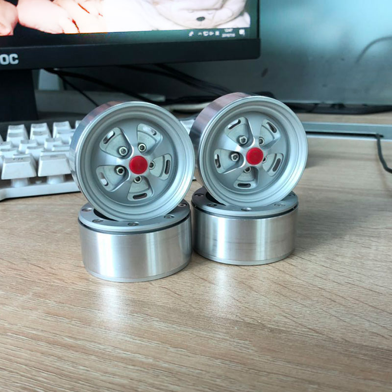 Free Shipping 4Pcs Matte Silver 1.9 Beadlock Wheels Rims For 1/10 RC Crawler Axial SCX10 II 90046  TRX-4 D90