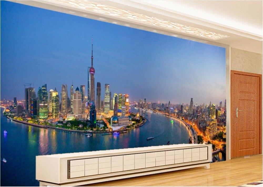 D kamer behang custom mural de oosterse parel stad bij nacht