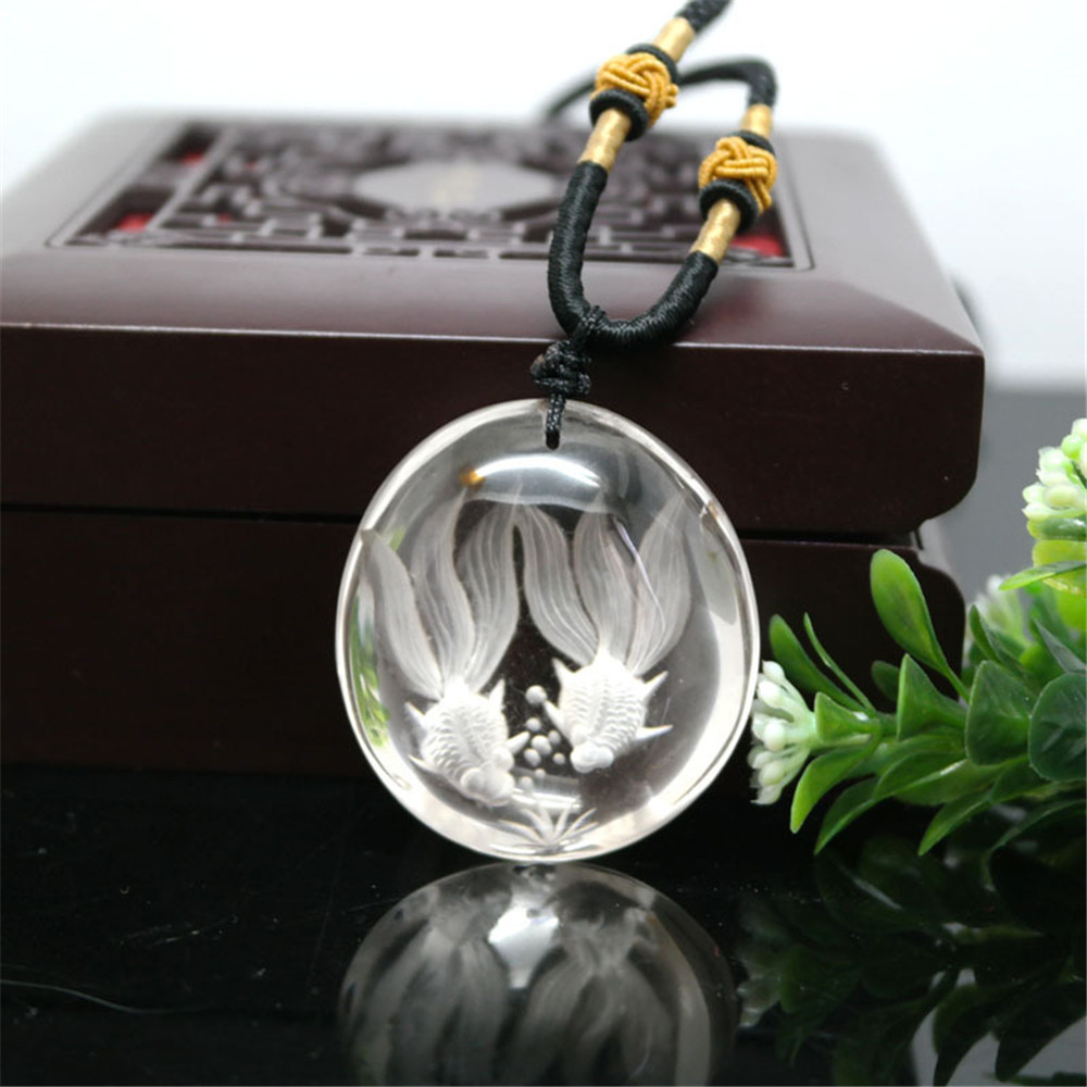 AAA Natural White Crystal Hand Carved Goldfish Pendant Necklace Exquisite Fishes Sweater Chain Reiki Crystal Women Jewelry GiftAAA Natural White Crystal Hand Carved Goldfish Pendant Necklace Exquisite Fishes Sweater Chain Reiki Crystal Women Jewelry Gift