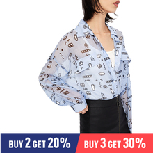Toyouth Summer 2019 Women Blouse Fashion Doodle Print Long Sleeve Polo Neck Blouse Female Casual Chiffon Long Blouses цена