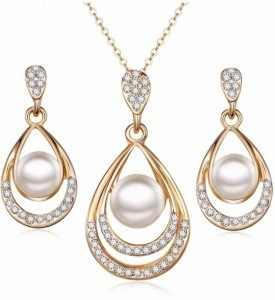 2018 New Designed Rhinestone Inlaid Jewelry Sets Korean Imitation Pearls Silver Golden Necklace Earrings for Women Party Jewelry