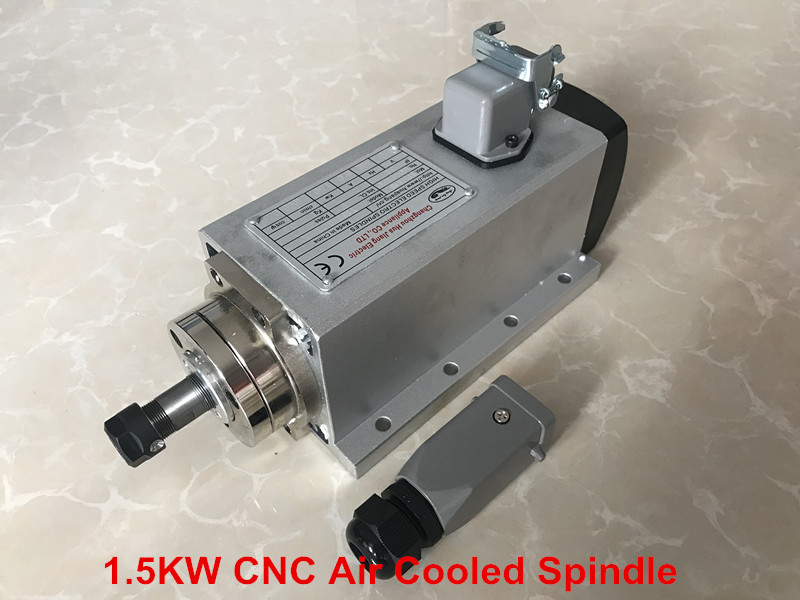CNC Router Spindle 1.5KW Spindle Motor 220V/110V ER11 Air Cooled Machine Tool Spindle Square Machine Part For Milling 220v 1 5kw spindle motor water cooling motor cnc spindle motor machine tool spindle