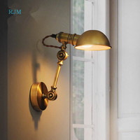 American Style Country Loft Wall Lamps and Lanterns Antique Iron Art Ancient Bronze Creative Aisle Staircase Wall Lamp