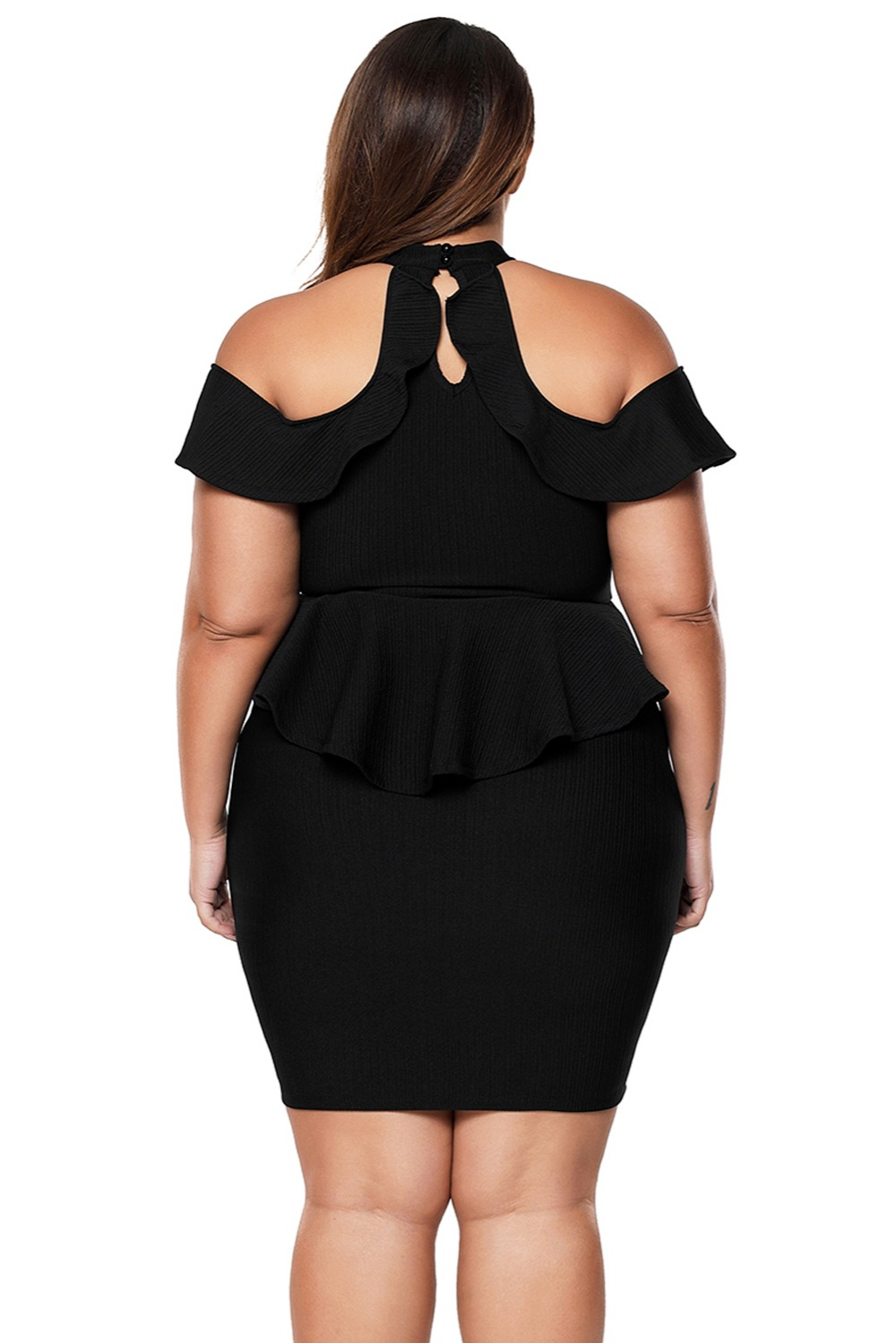 Black-Plus-Size-Cold-Shoulder-Peplum-Bodycon-Dress-LC220308-2-2